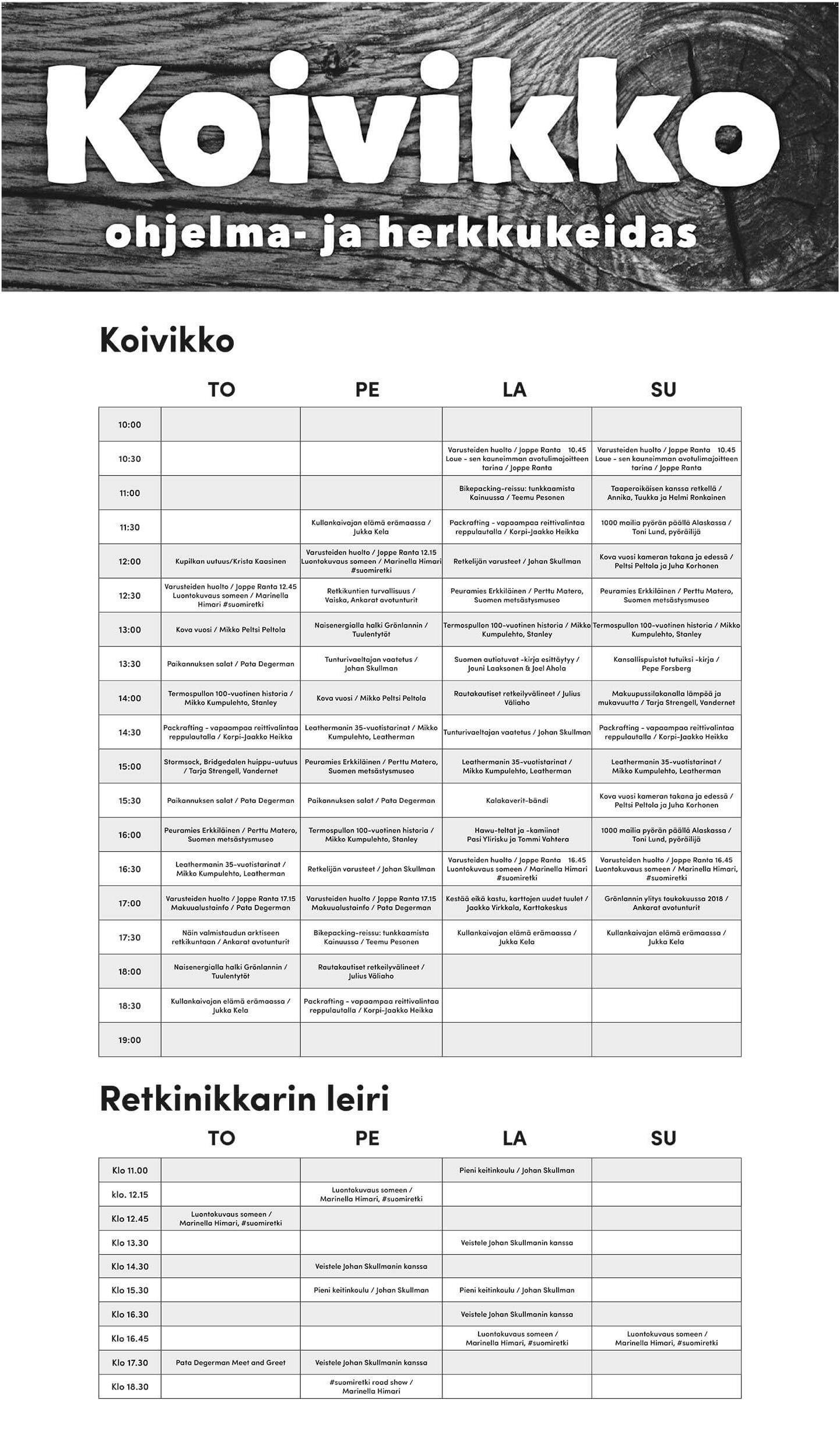 Ohjelmalavan esitykset ovat ylhäällä ja lisäohjelmat, lavan takanan Retkinikkain leirissä, alemmassa taulukossa.