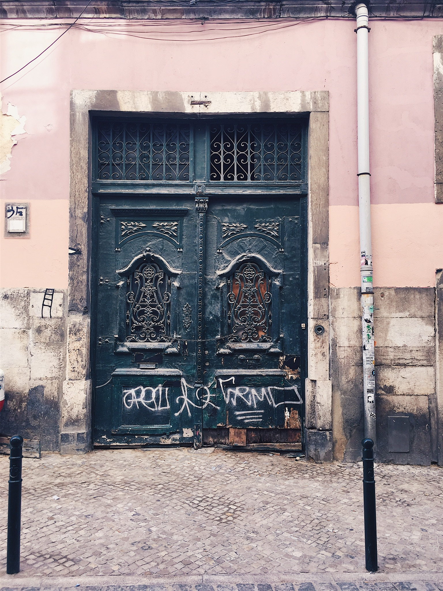 Old doors, faded pastel paint