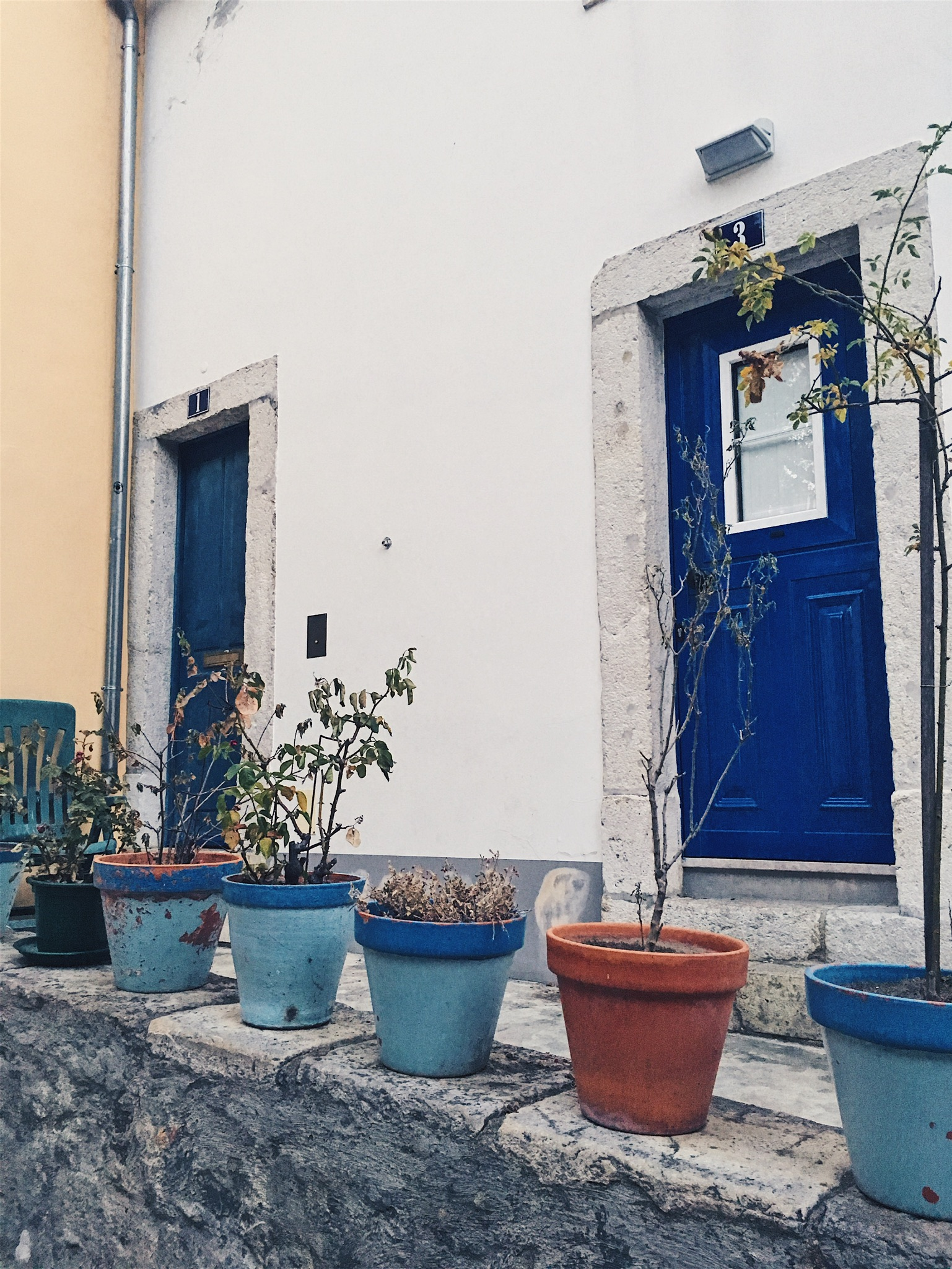 Pretty color palette of a building and potted plants just across the entrance to the castelo
