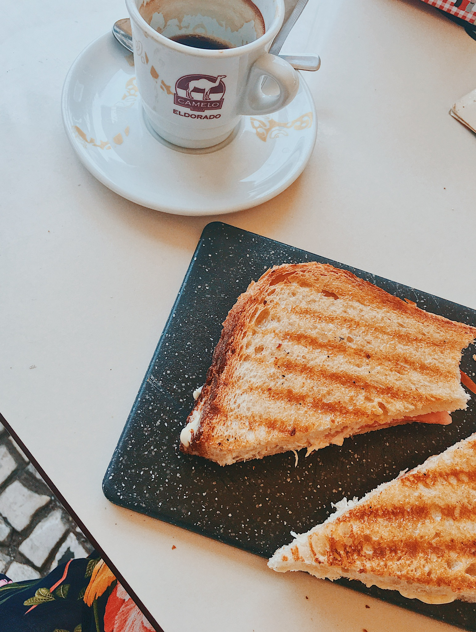 """Lunch in Faro was a simple ham, cheese, and tomato """"tosta"""" (toasted sandwich) with the ubiquitous tiny espresso"""