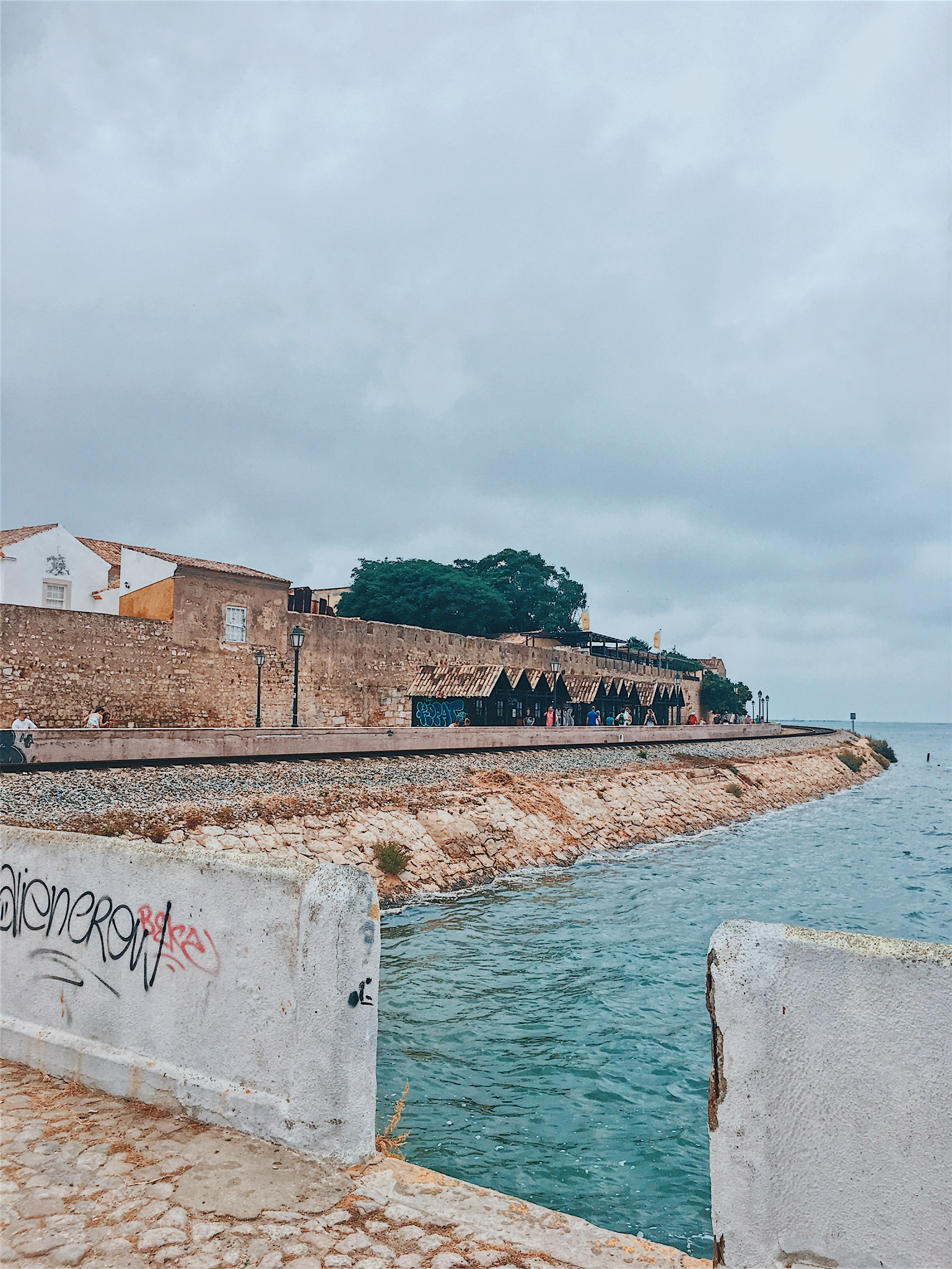Walking from the main Faro port to the ferry dock
