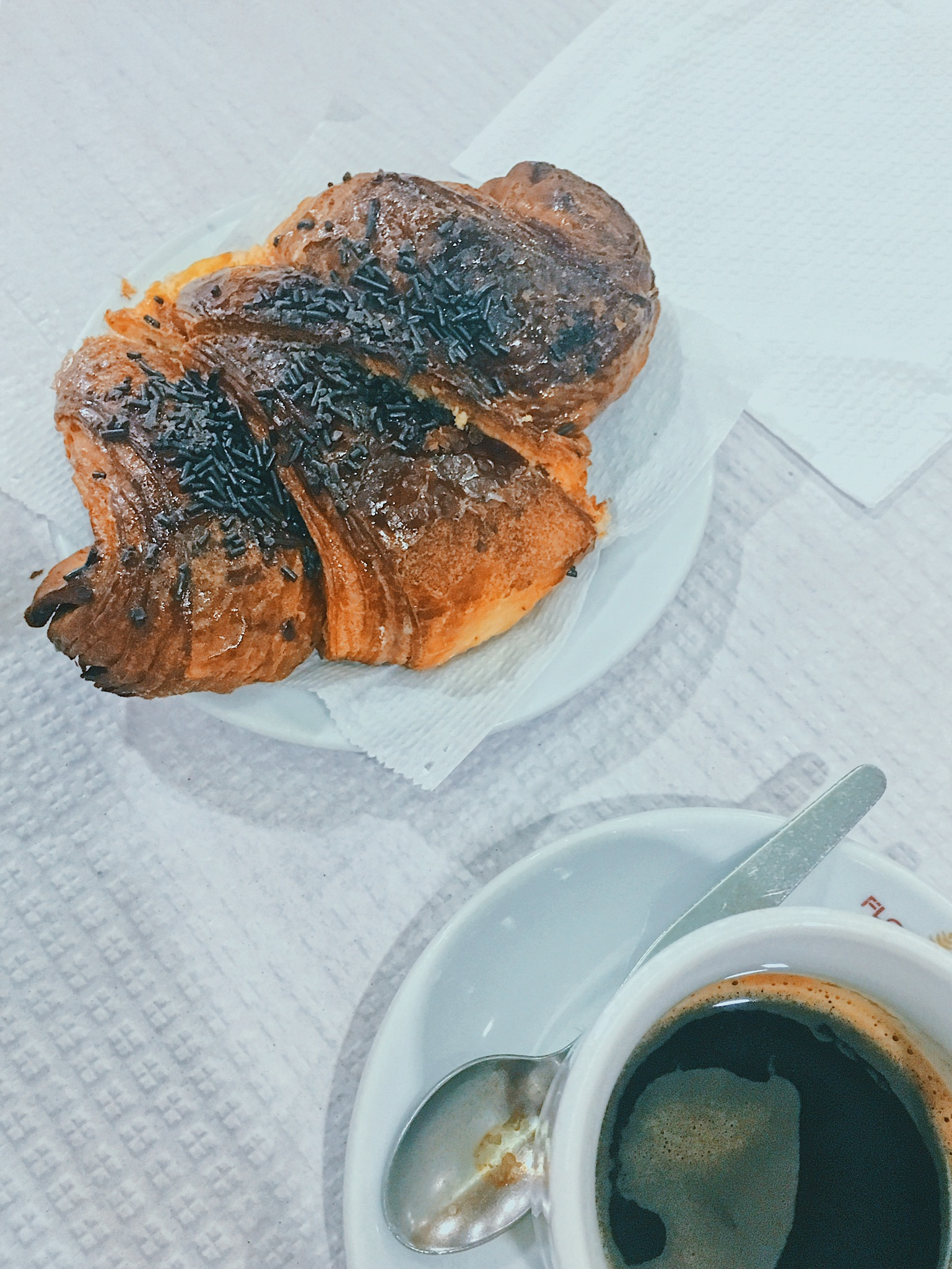 Chocolate croissant and coffee