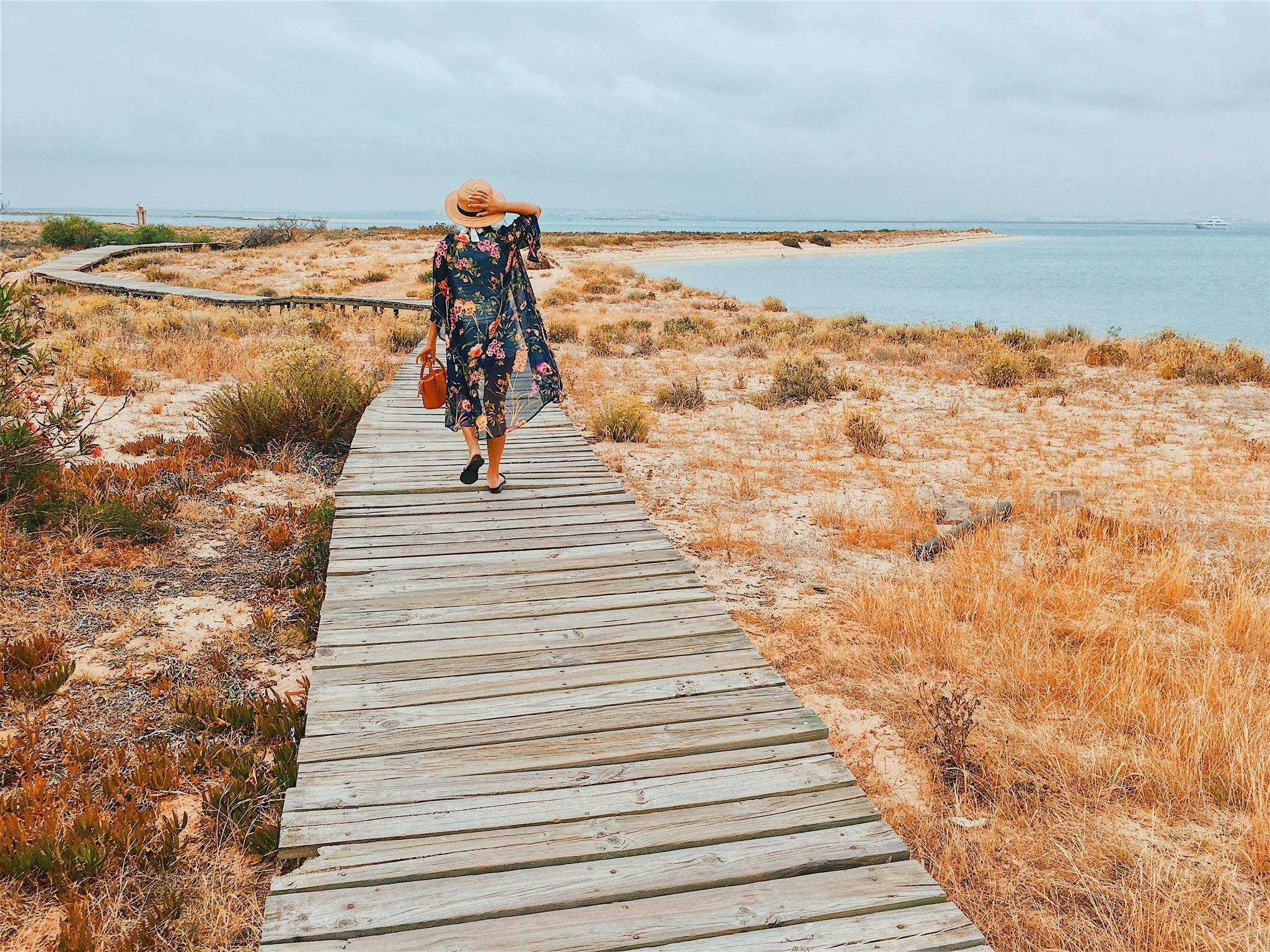 Walking along one of the many wooden plank walkways on Ilha Deserta