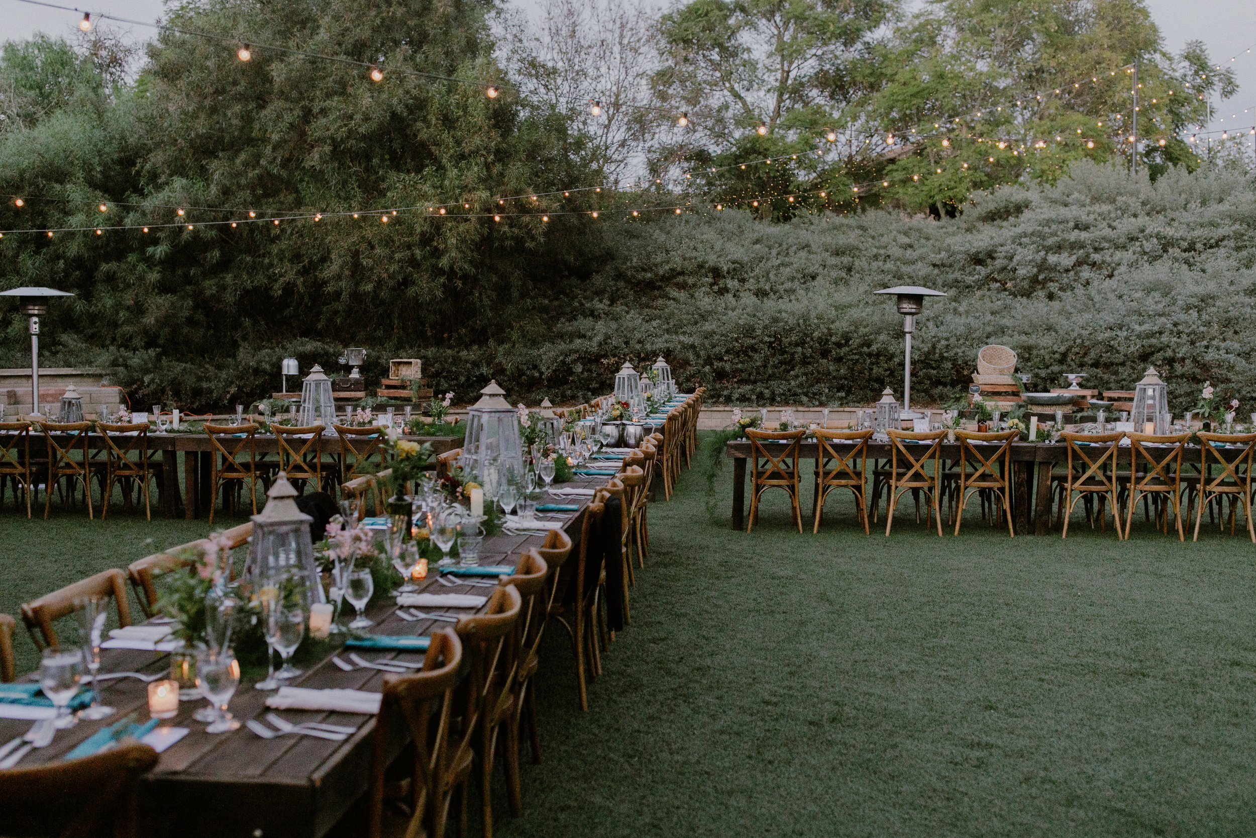 """Our venue provided EXACTLY what I wanted in terms of surroundings, outdoor/indoor options, tables & chairs, lighting, and a neat double """"X"""" configuration so every guest had a good seat."""