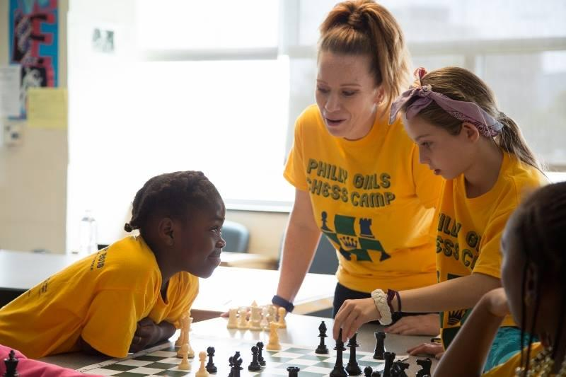 Gabrielle Moshier of the Philadelphia Chess Society, with students