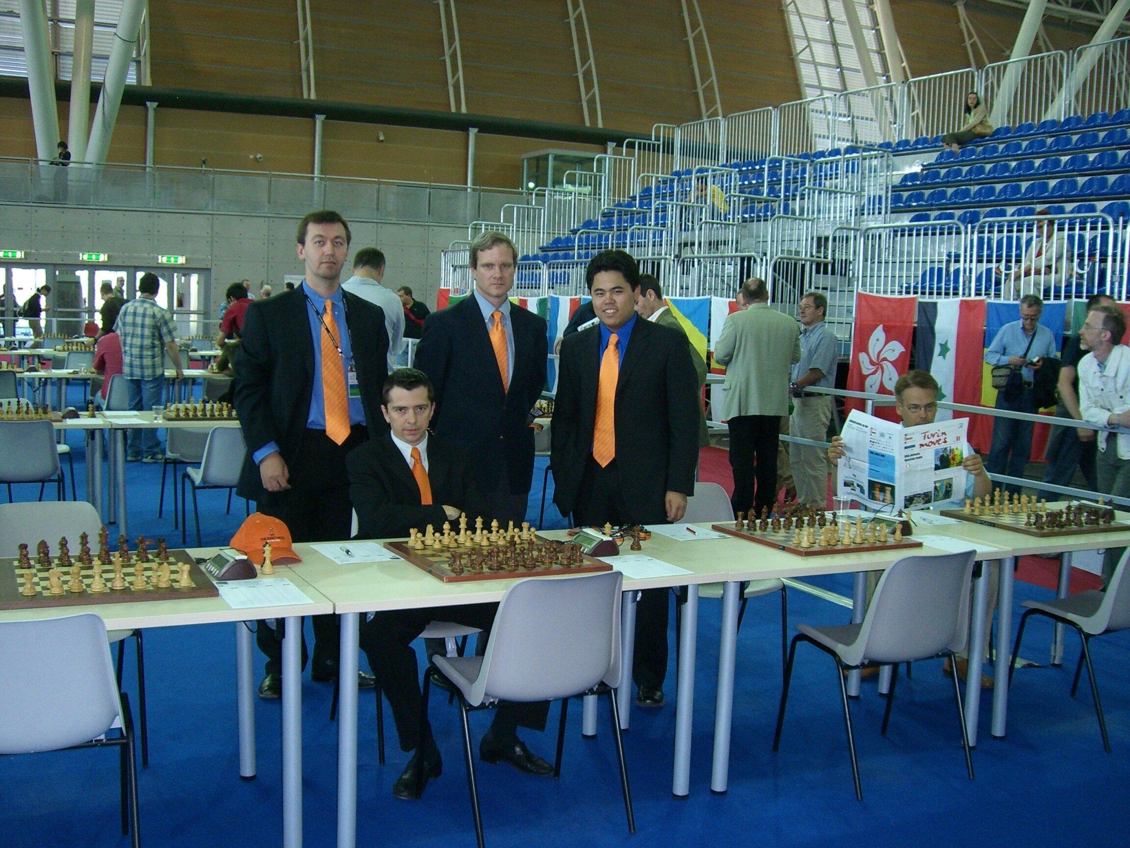 John Donaldson (center) at the 2006 Olympiad in Turin. (also pictured, Gata Kamsky, Alex Onishchuk, Hikaru Nakamura)