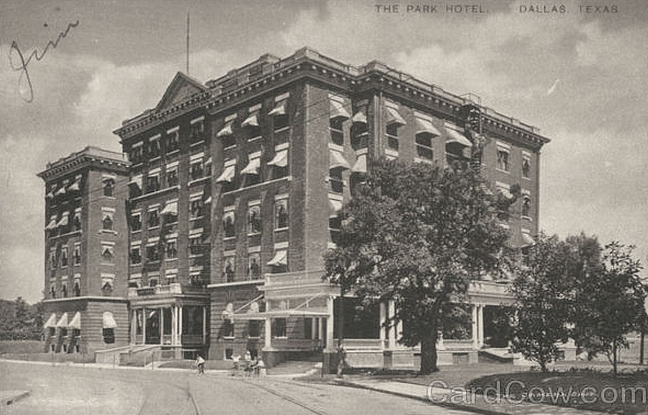 The Ambassador Hotel, branded in 1907 as the Park Hotel. I won't be showing photos of the fire or the aftermath. Photo courtesy of Flashback: Dallas.