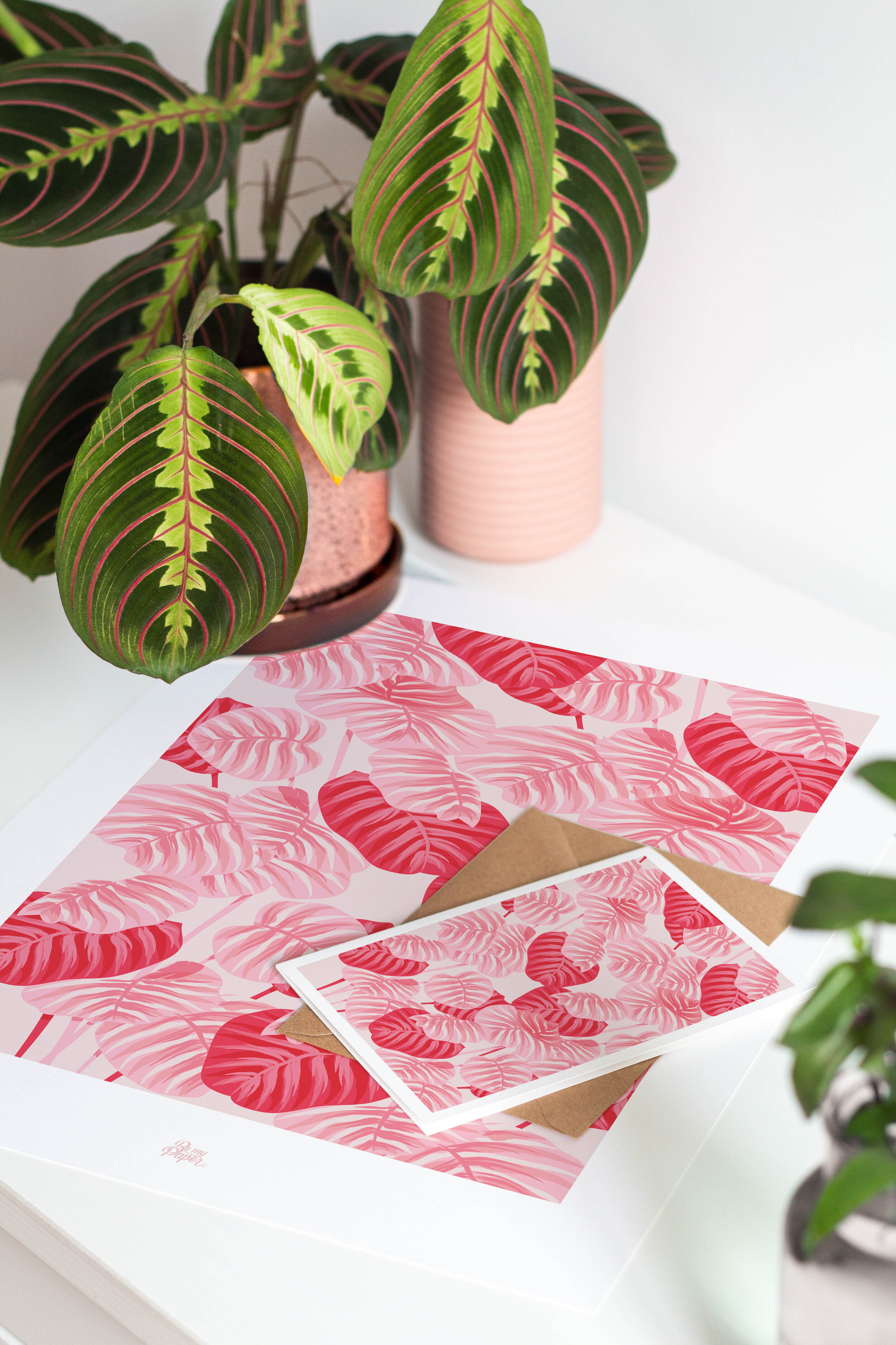 affiche-carte-tropicale-rose
