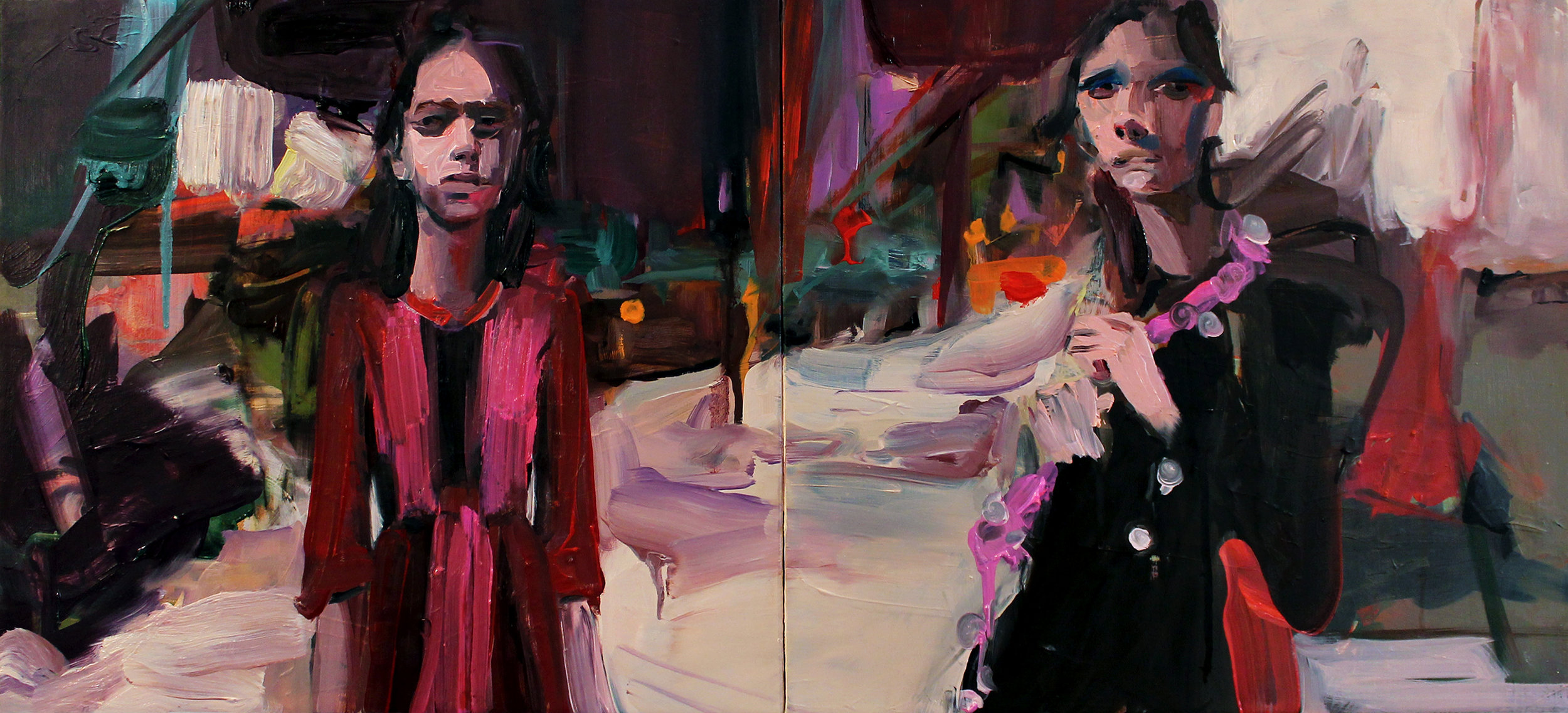 "untitled, 2015, oil on canvas, 12""x 28"" diptych"