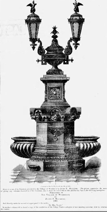Lithograph of the Mackenzie Fountain appears on July 11, 1889 in  The Vermont Standard.