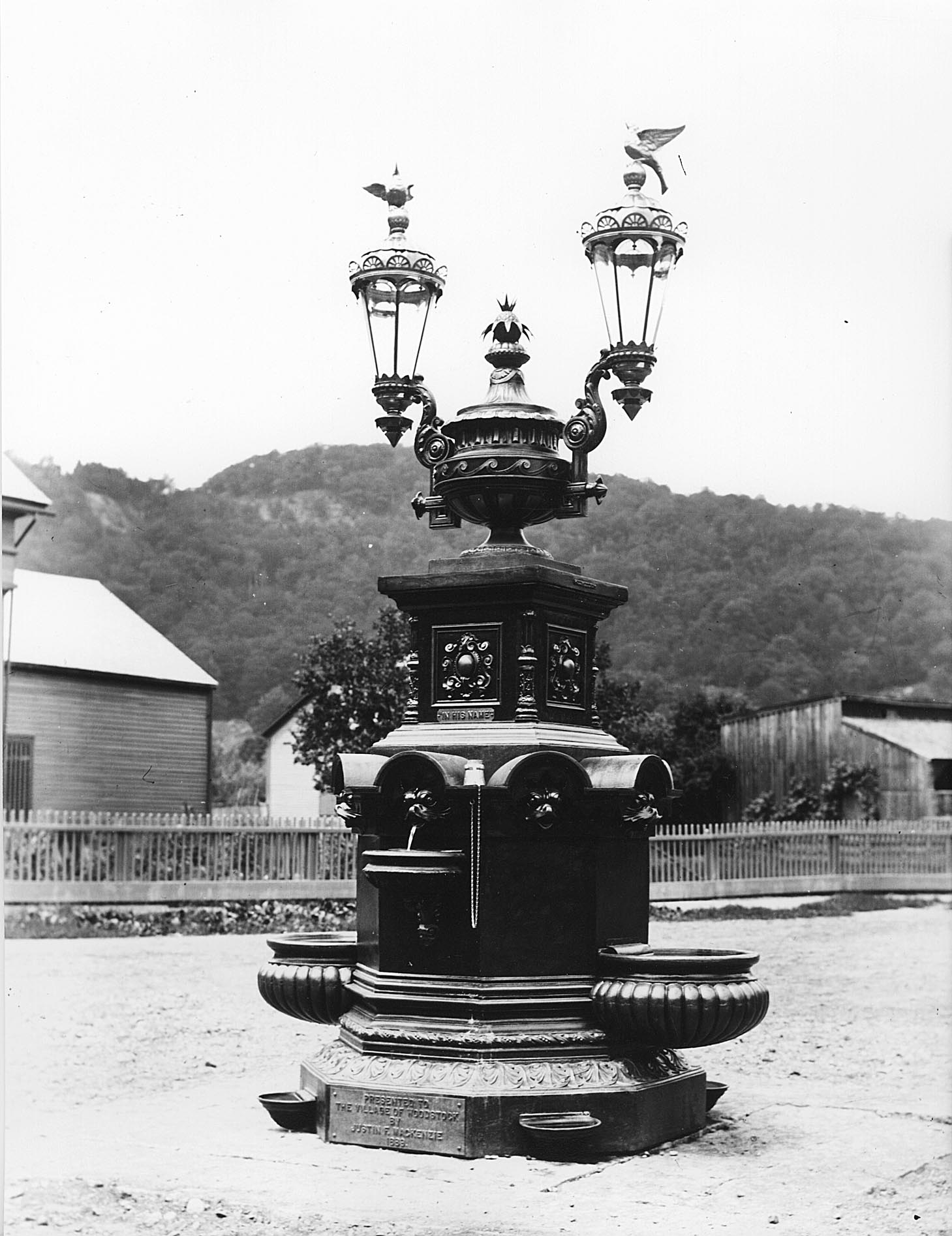 A New Fountain - The Mackenzie Fountain was placed in the Village Square at the corner of Elm and Central Streets.