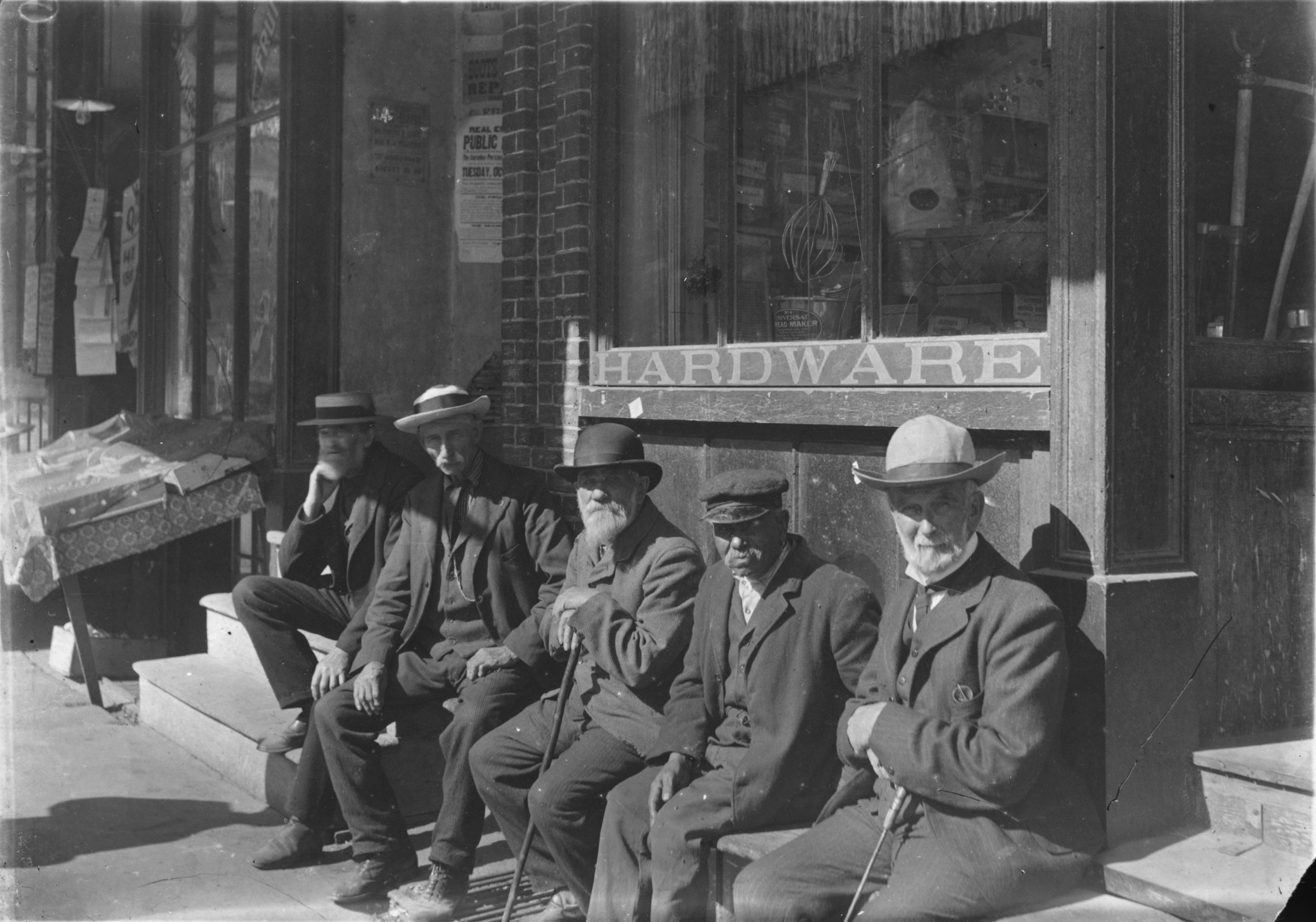 Civil War Veterans - George was a member of the George C. Randall Post #82 G.A.R. (Grand Army of the Republic) which was located on Central Street. The photograph shows members of the G.A.R. seated outside a shop on Central Street.