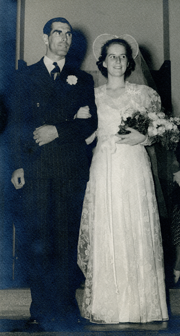 Martha Wells and Earl Lussier on their wedding day, July 27, 1941. St. James Church, Woodstock, Vermont.