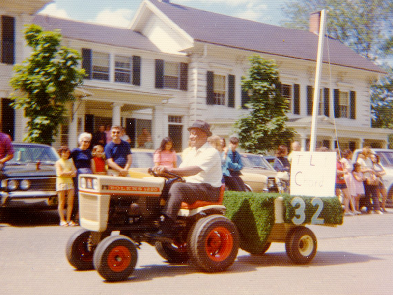 "Tom driving the class float in the Alumni Day Parade of 1972 after being ""primed by class members."""