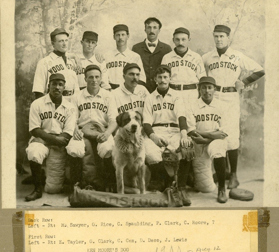 Photo of the Woodstock Baseball Team, 1900. Eugene Taylor (front left) was one of the players on this team.