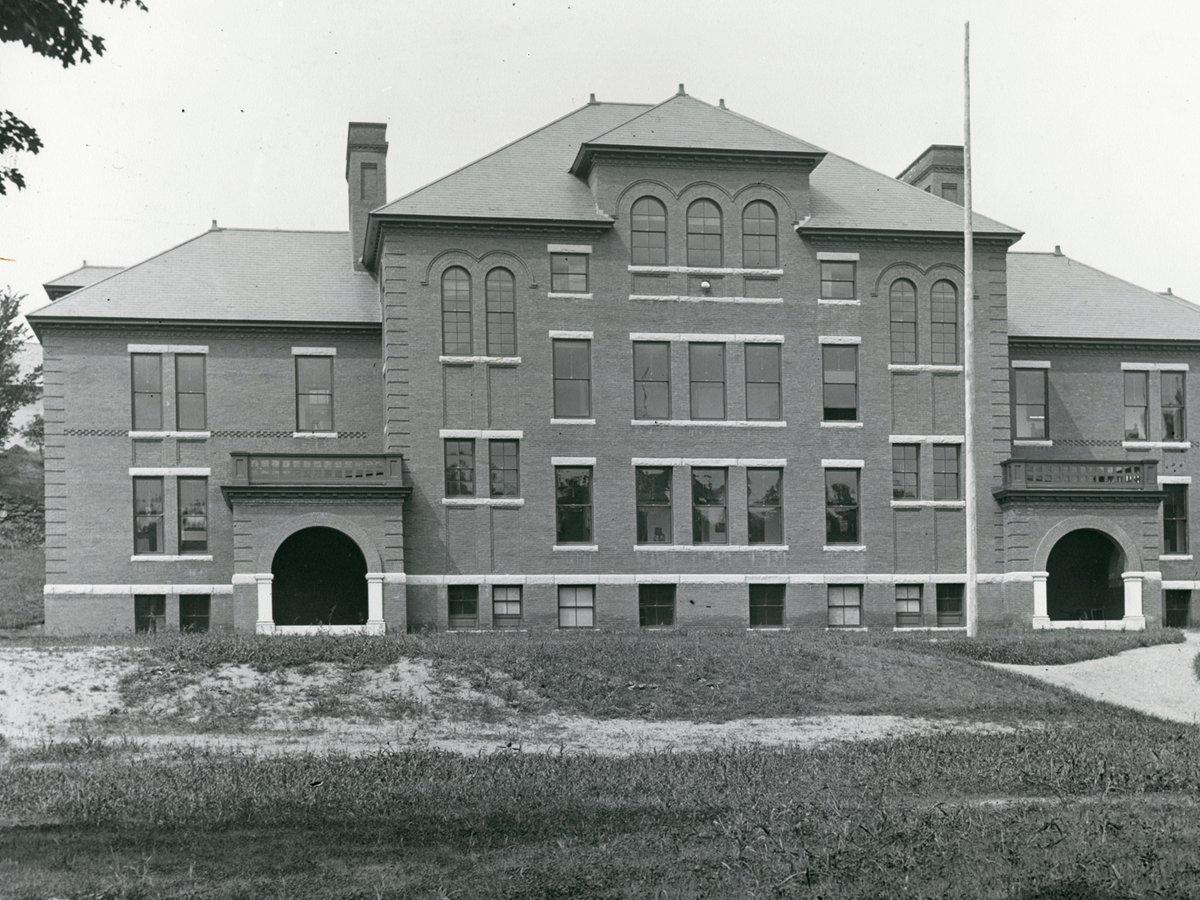 """The """"new"""" 1904 Woodstock High School building where Bessie taught for many years."""