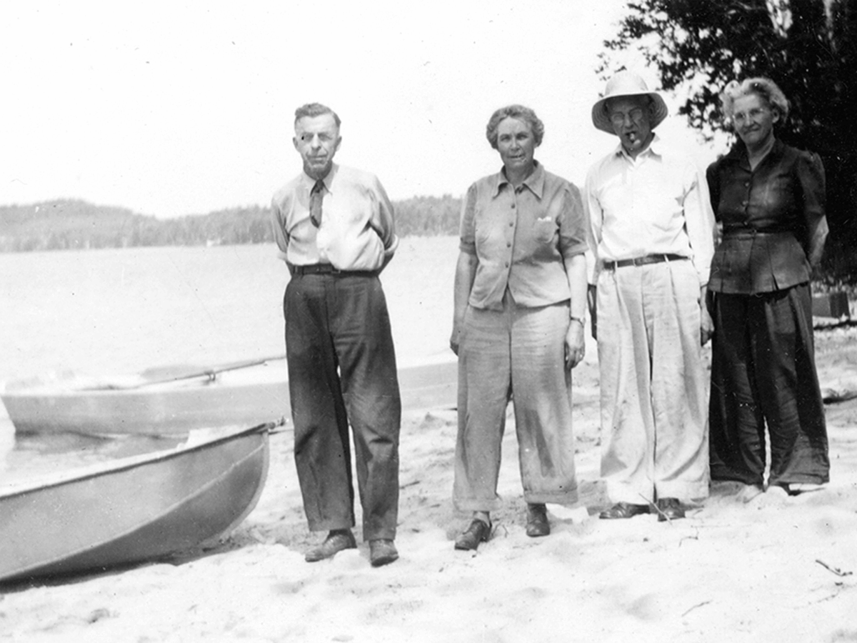 (Left to right): LeRoy, Bessie, and their friends, Jack and Ida Horner, July 1947, Island Pond, Vermont