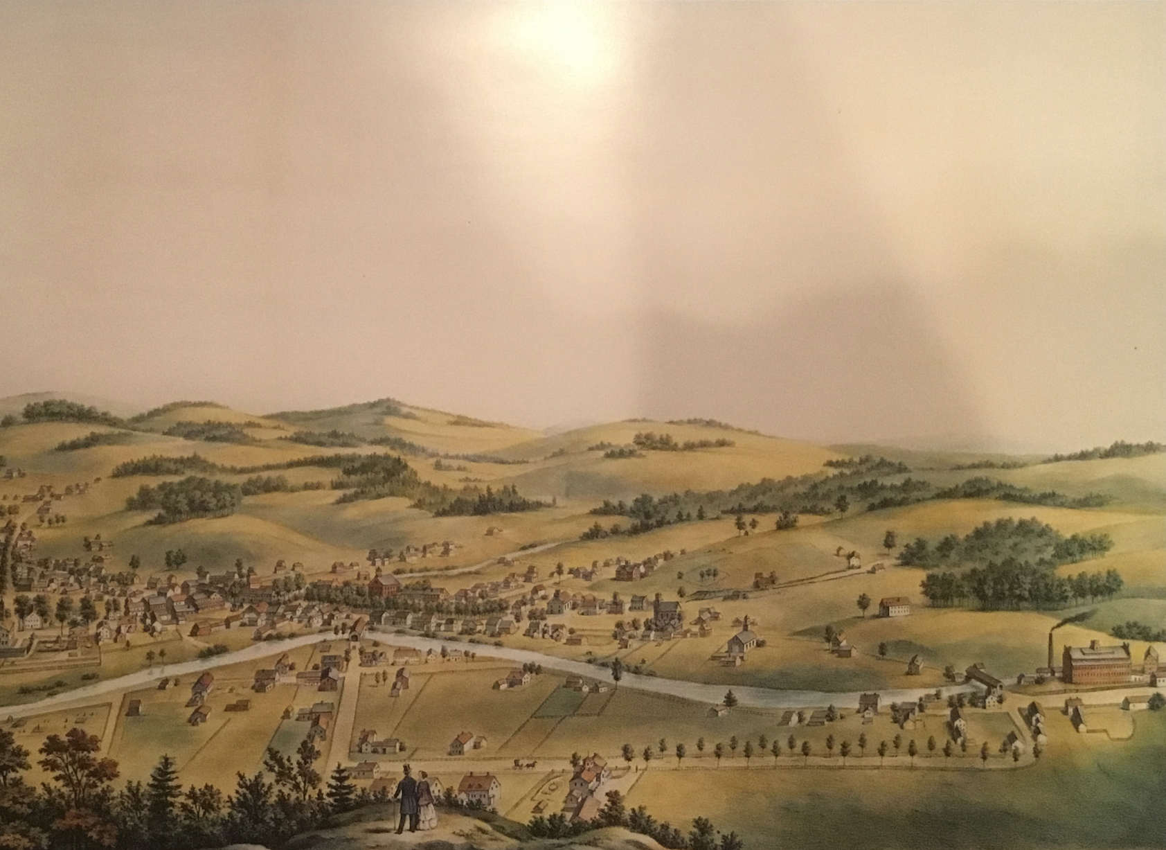 View of Woodstock Village from Mount Tom, 1859