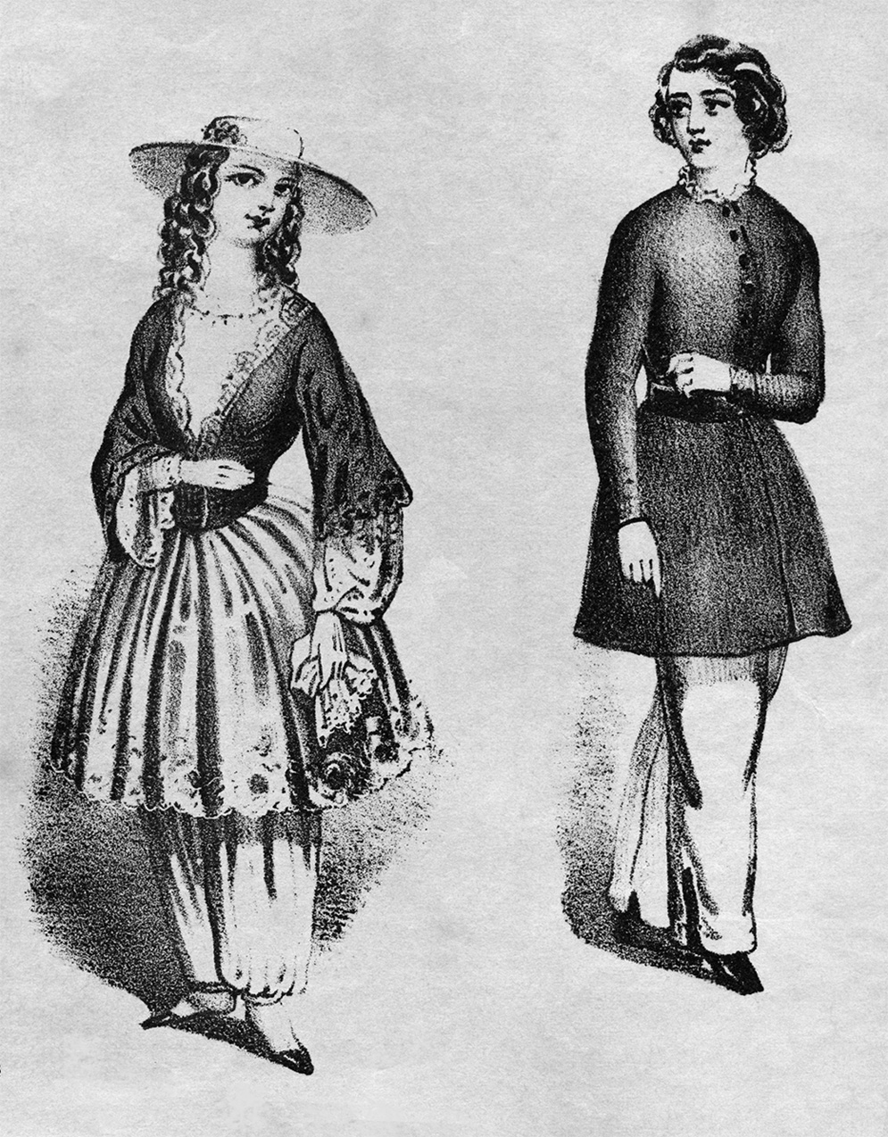 "The ""American costume,"" which was worn by Marenda and a number of other women's rights advocates, included bloomers or pants under a dress. It allowed much more freedom of movement than the hoop skirts that were popular at the time."