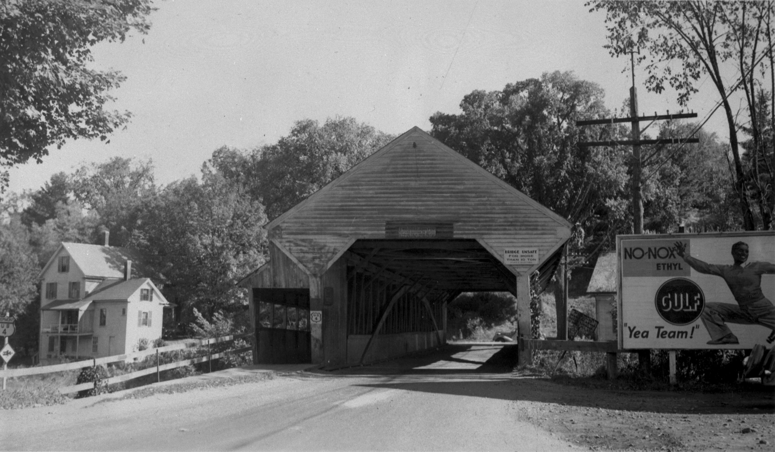The covered bridge was located near the present-day Recreation Center.