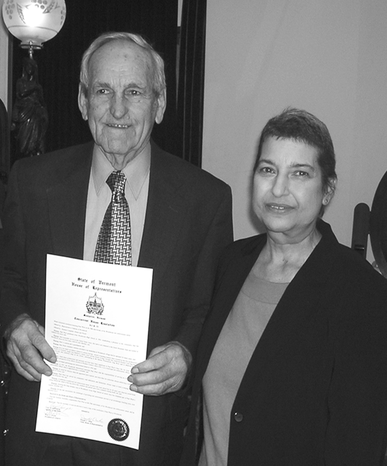 In 2005, Paul was honored for half a century of service in law enforcement. In this photo, he is shown with his wife, Barbara, at a special recognition ceremony held in Montpelier, Vermont.