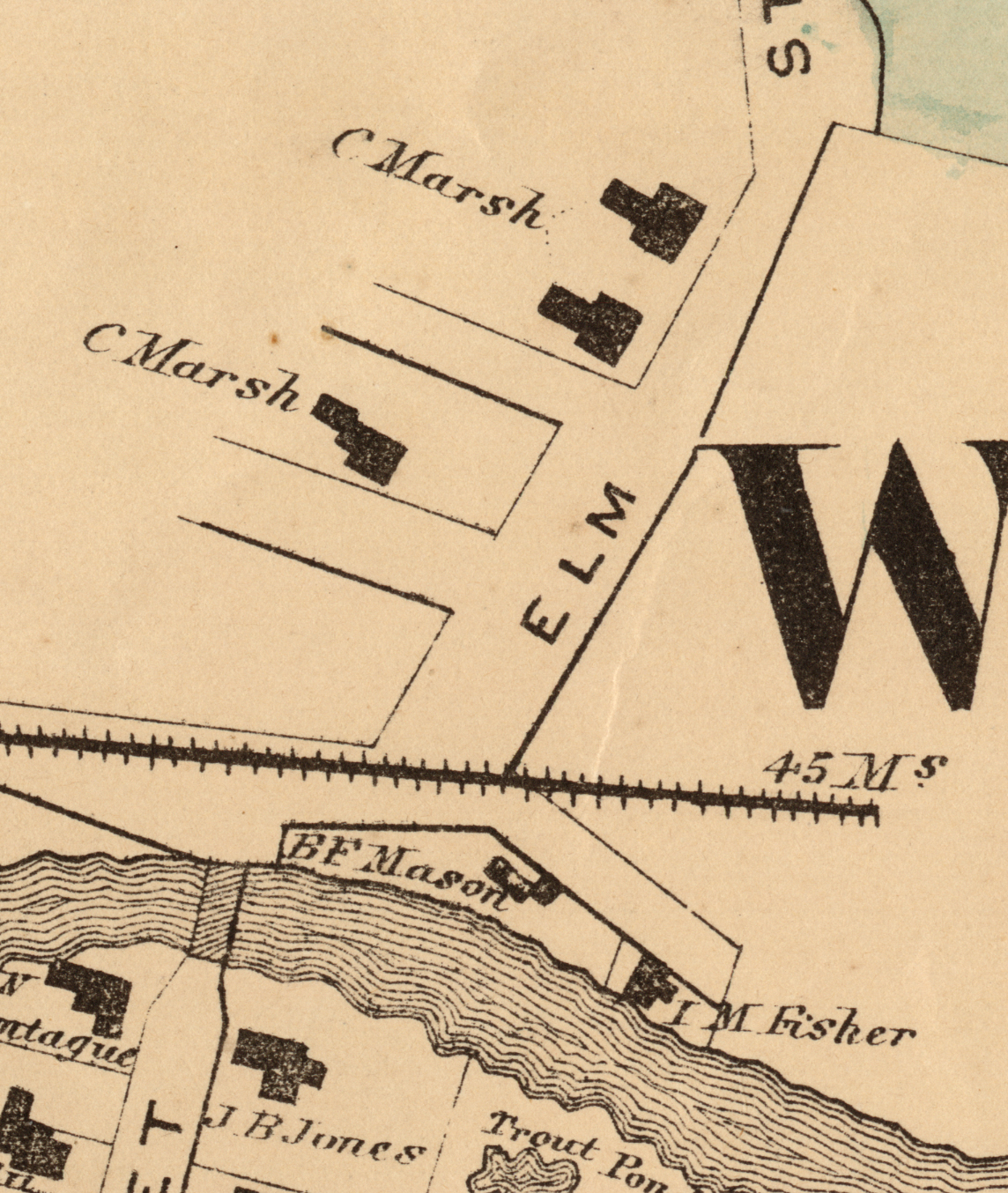 Detail of the upper part of Elm Street including Charles Marsh's houses. The railroad track on the map was never completed. Windsor County Map. 1869. F.W. Beers & Co.