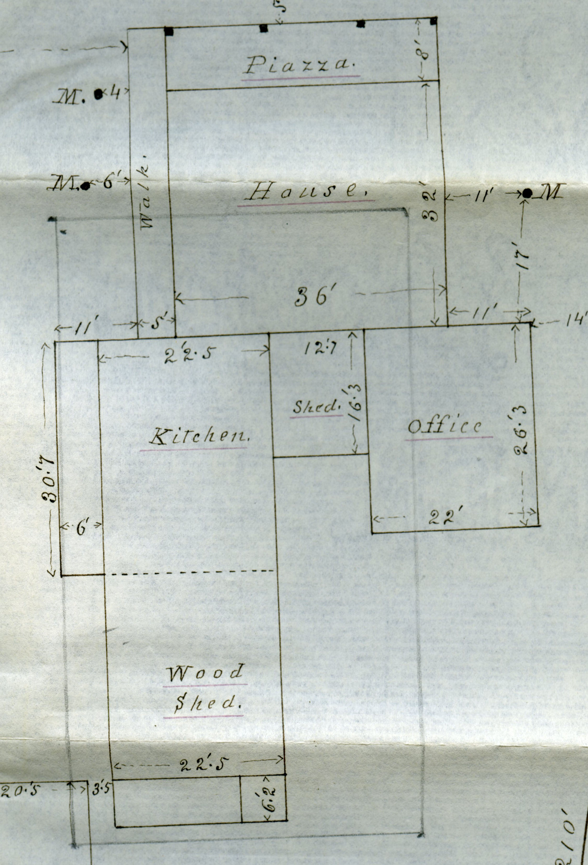 "Detail from the ""Plan of the Home of the late Norman Williams, Woodstock, Vt. November, 1882"