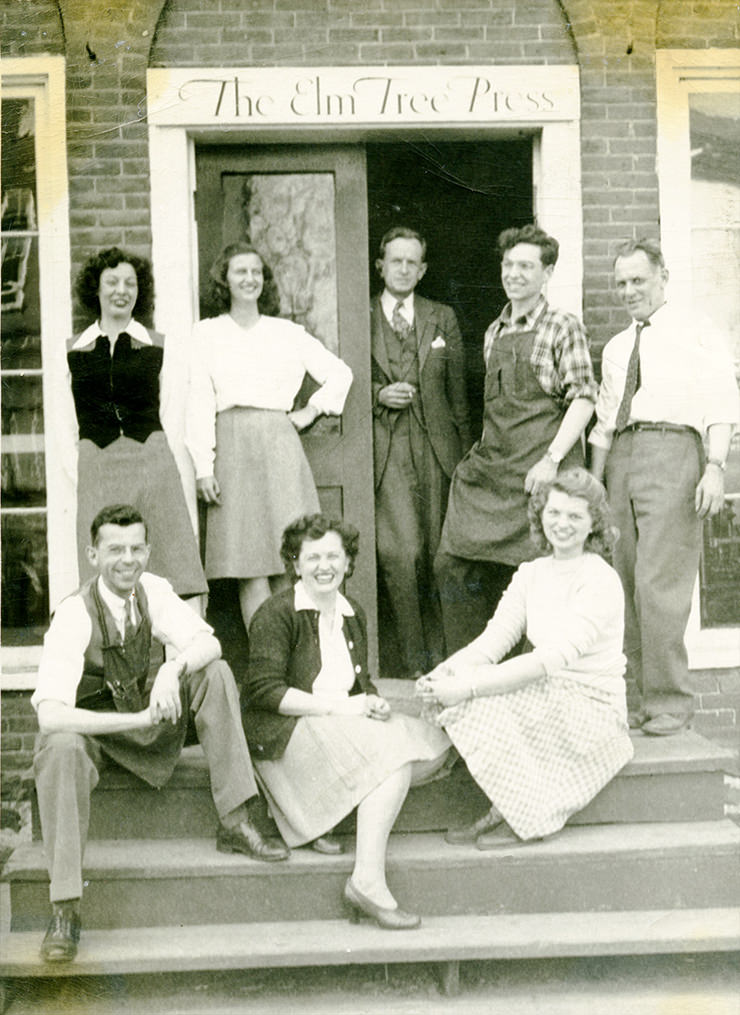 Part of the Elm Tree Press staff, April 1946. Standing: Maris Ransom, Jay Taylor, Phil Cody, Ed Hawkes, Bill Robison (Robbie) Seated: Frank Teagle, Beatrice Hawkes, and Kay Peddle.