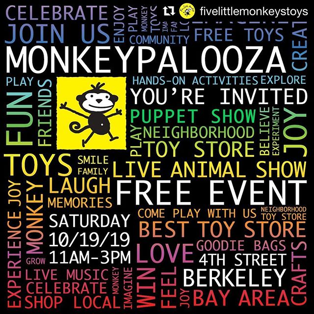 #Repost @fivelittlemonkeystoys with @get_repost ・・・ Join us this Saturday for MONKEYPALOOZA on a Fourth Street in Berkeley! Swipe to see some of the awesome activities we have planned! See you from 11-3 on Saturday! #bayareaevents #toddlerevents #kidevents #fivelittlemonkeys #monkeypalooza