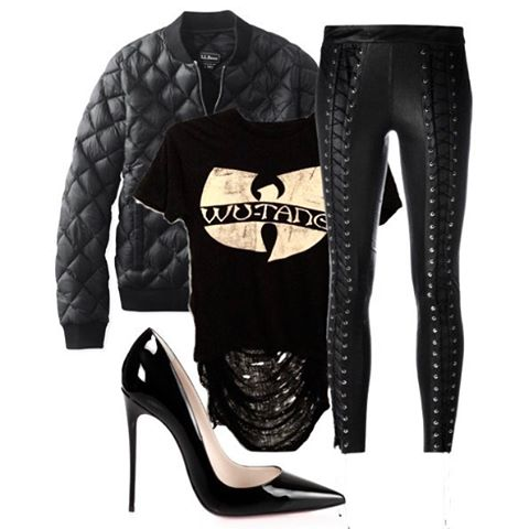 Pair our Wu Tang shredded back tee with a bomber jacket, lace up skinnies, and pumps for a super cute  day to night look.