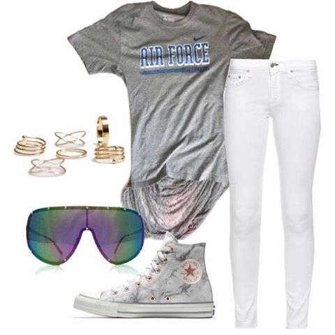 Summer is here and lighter hues are a go! Pair the one of one airforce tee with white skinnies, chucks, and your favorite sunnies for a relaxed summer look.