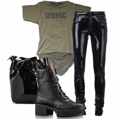 Casual perfection, the USMC tee makes a perfect combination with leather or latex pants and combat boots.