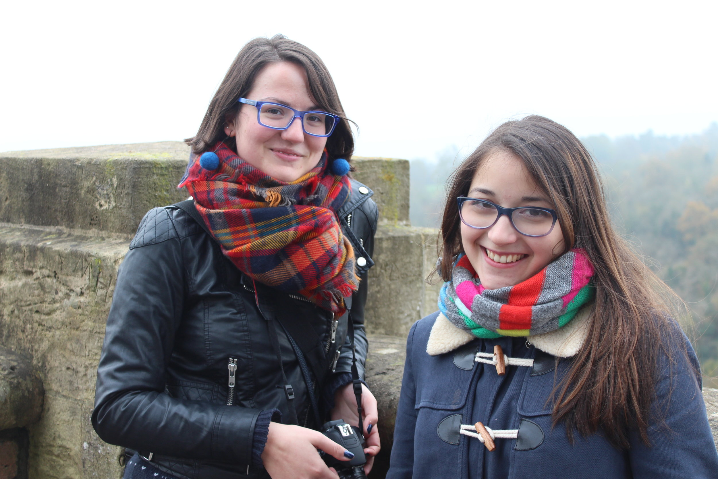 Isa and her best friend Adela outside the Suspension Bridge