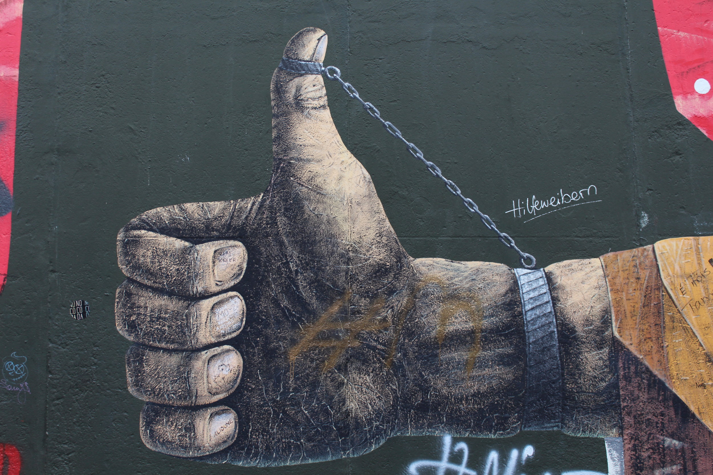 """This is one of the most powerful images on the wall. The artist is Michail Serebrjakow and he's called this piece """"Diagonale Lösung des Problems"""", which according to google translate means """"Diagonal solution of the problem"""". (Please, please, German-speaking readers, correct me if that's wrong.)"""