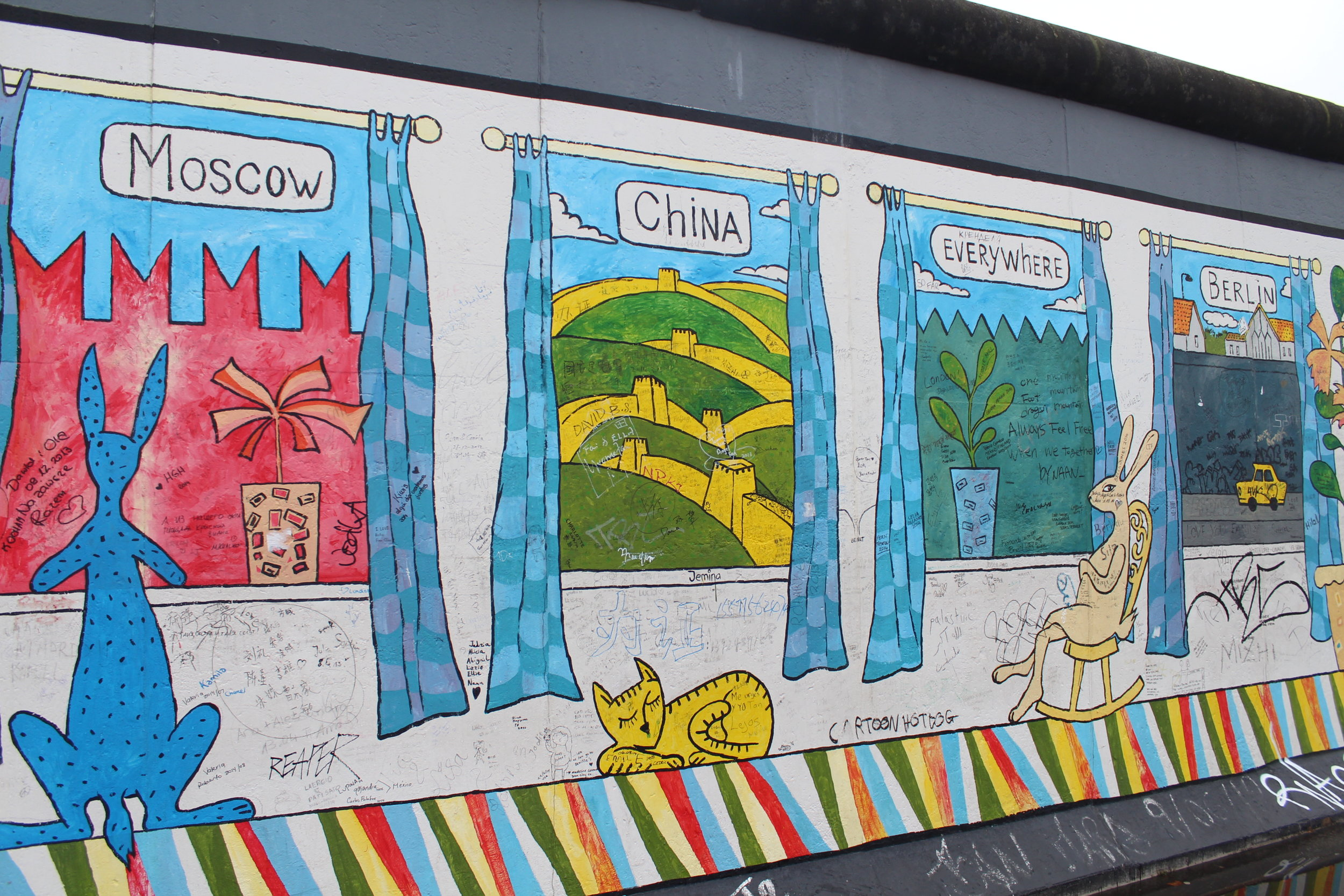 When we took a few moments to look at this picture by Alexey Taranin, we stood next to two girls who were debating its meaning. Why did he choose that wall for 'Everywhere'? What's with the animals? Why is Moscow's kangaroo blue? Does Moscow even have kangaroos? Is that even a kangaroo?  On first glance, I thought this was easy to interpret, but those girls filled my head with questions and alternative theories too. The kangaroo questions will particularly bug me for a while.