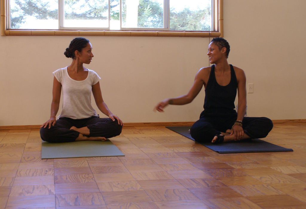 Andrea Miller teaching yoga at  White Lotus  in Santa Barbara with long-time friend and colleague,  Kyona Beatty . (2010)