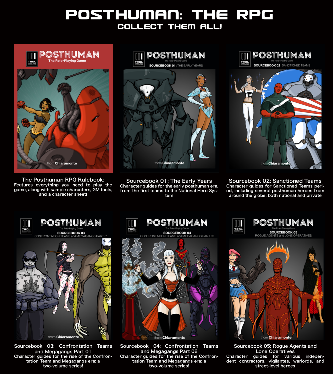 Posthuman, along with the first two Sourcebooks, was soft-launched at Wondercon Anaheim 2019. each came with a sparkly cyber-unicorn. Subsequently, the following three books were launched at Rose City Comic Con 2019, with the full collection available for the first time. Still sparkly.