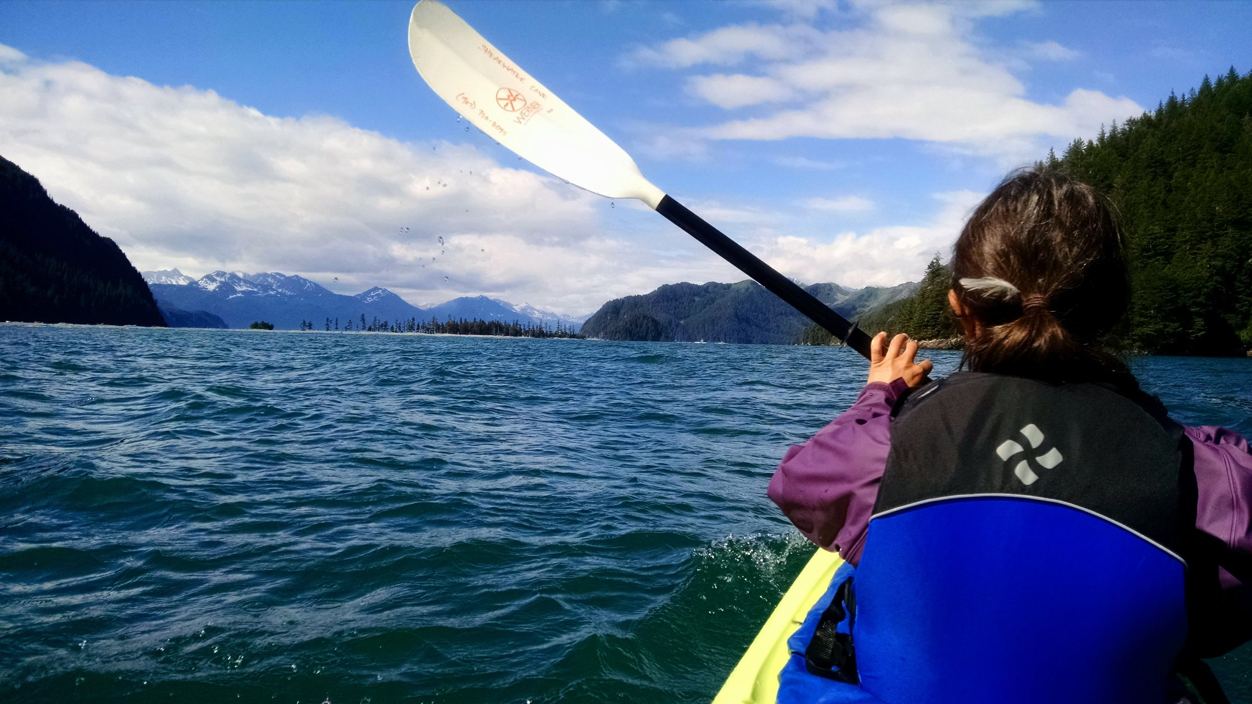 Kayaking near the Fox Island Spit with Leigh.