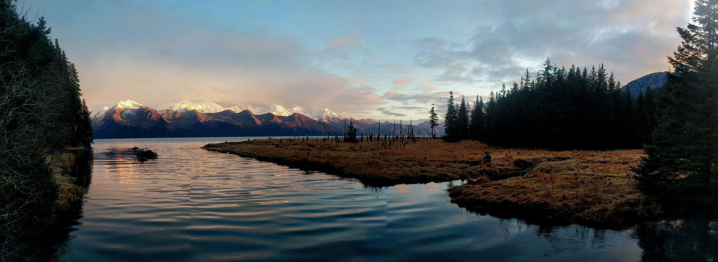 Late evening sunset on Resurrection Bay, just south of Seward, Alaska.