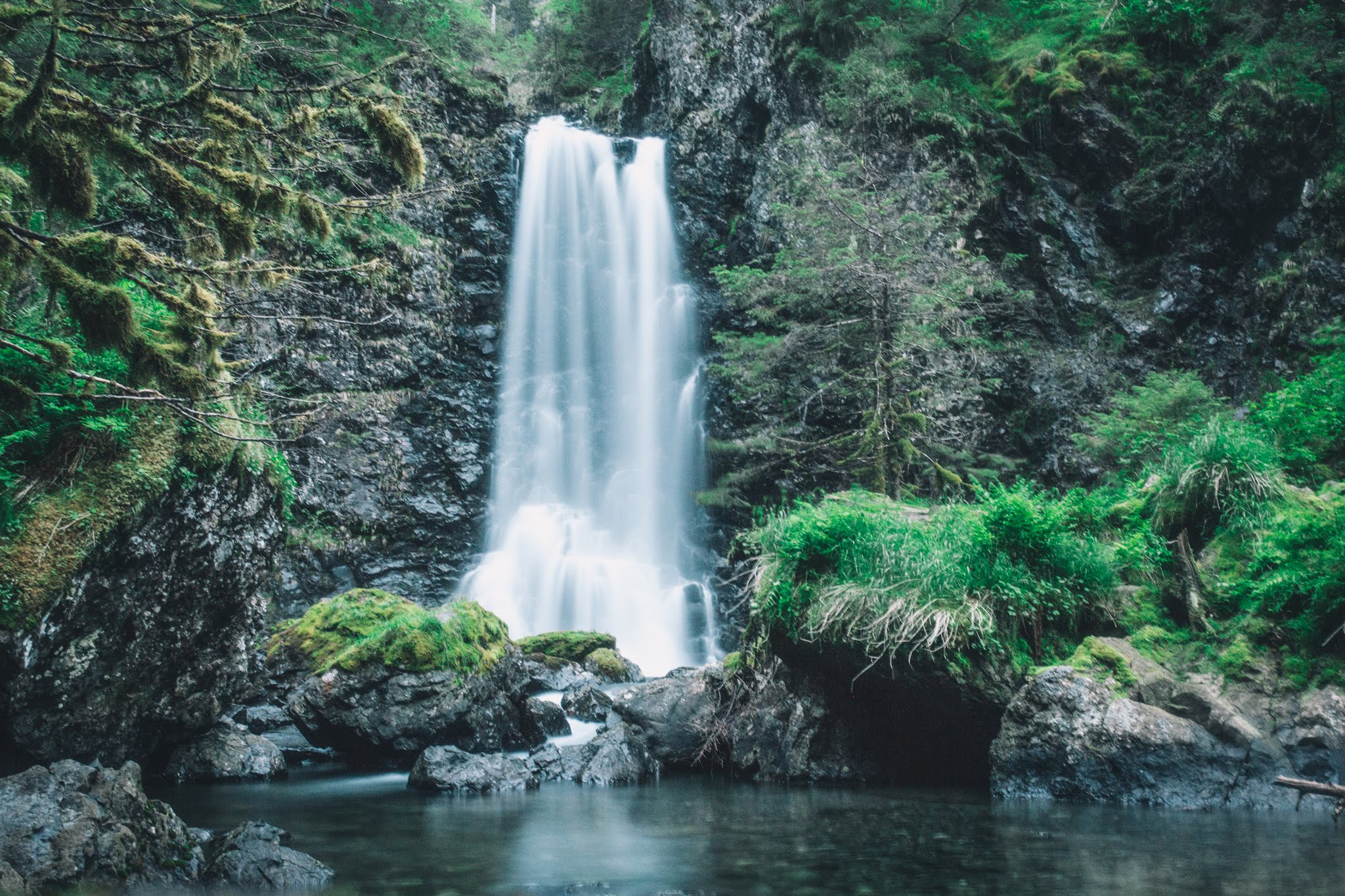 The waterfall in Humpy Cove to which thousands of pink salmon return every year to spawn. Photo credit: Mikey Huff.