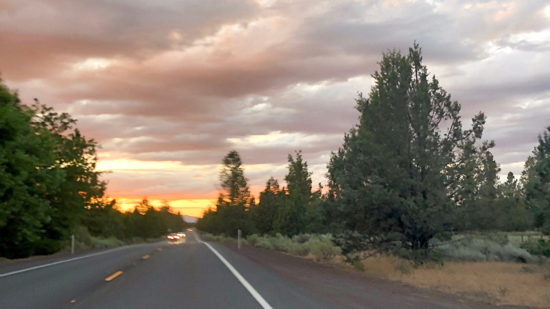 A sunset drive from Bend to Sisters in Central Oregon.
