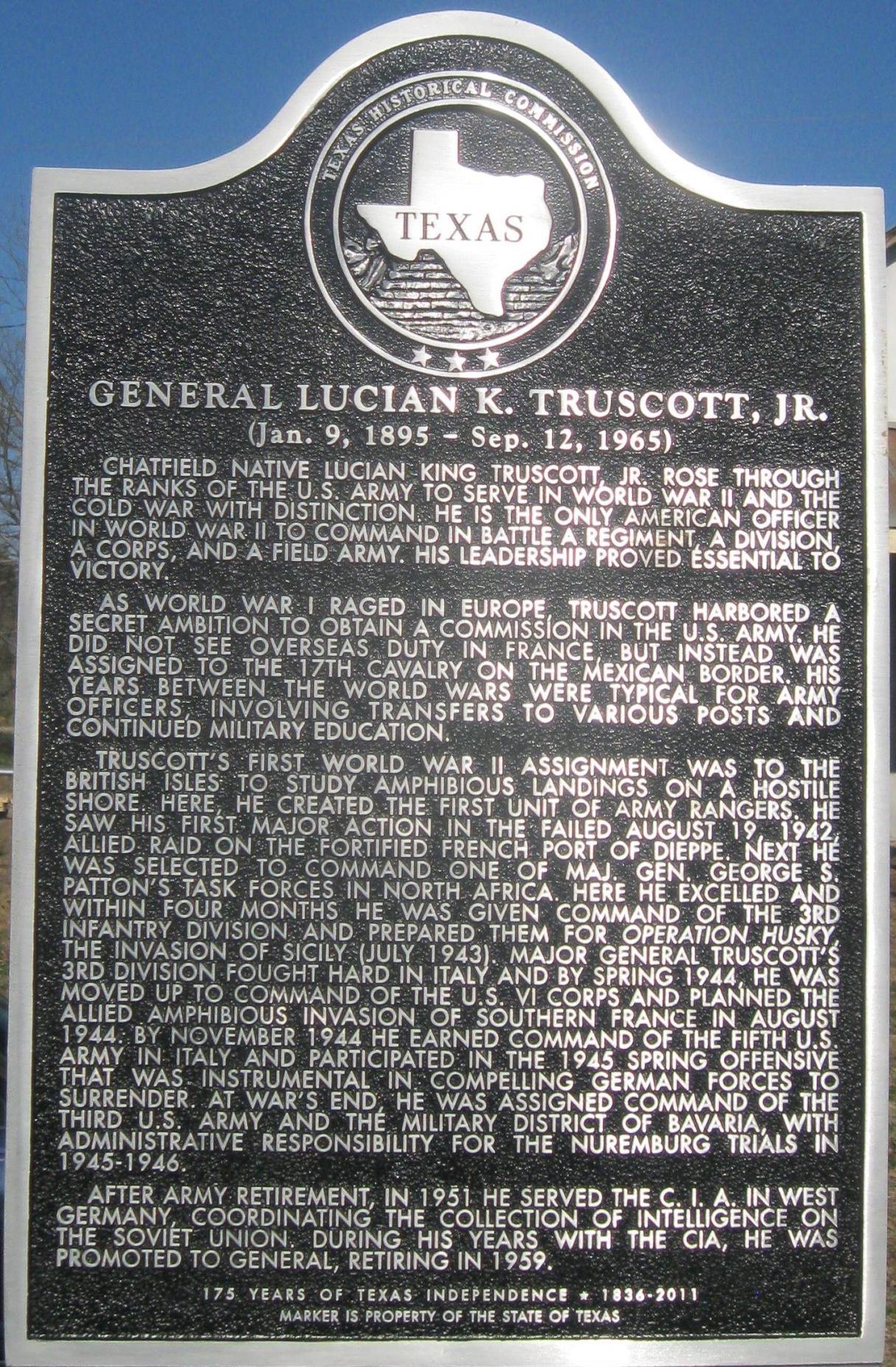 Gen. Truscott Hist. Marker