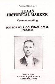 Dr. Coleman Marker Dedication, Cover