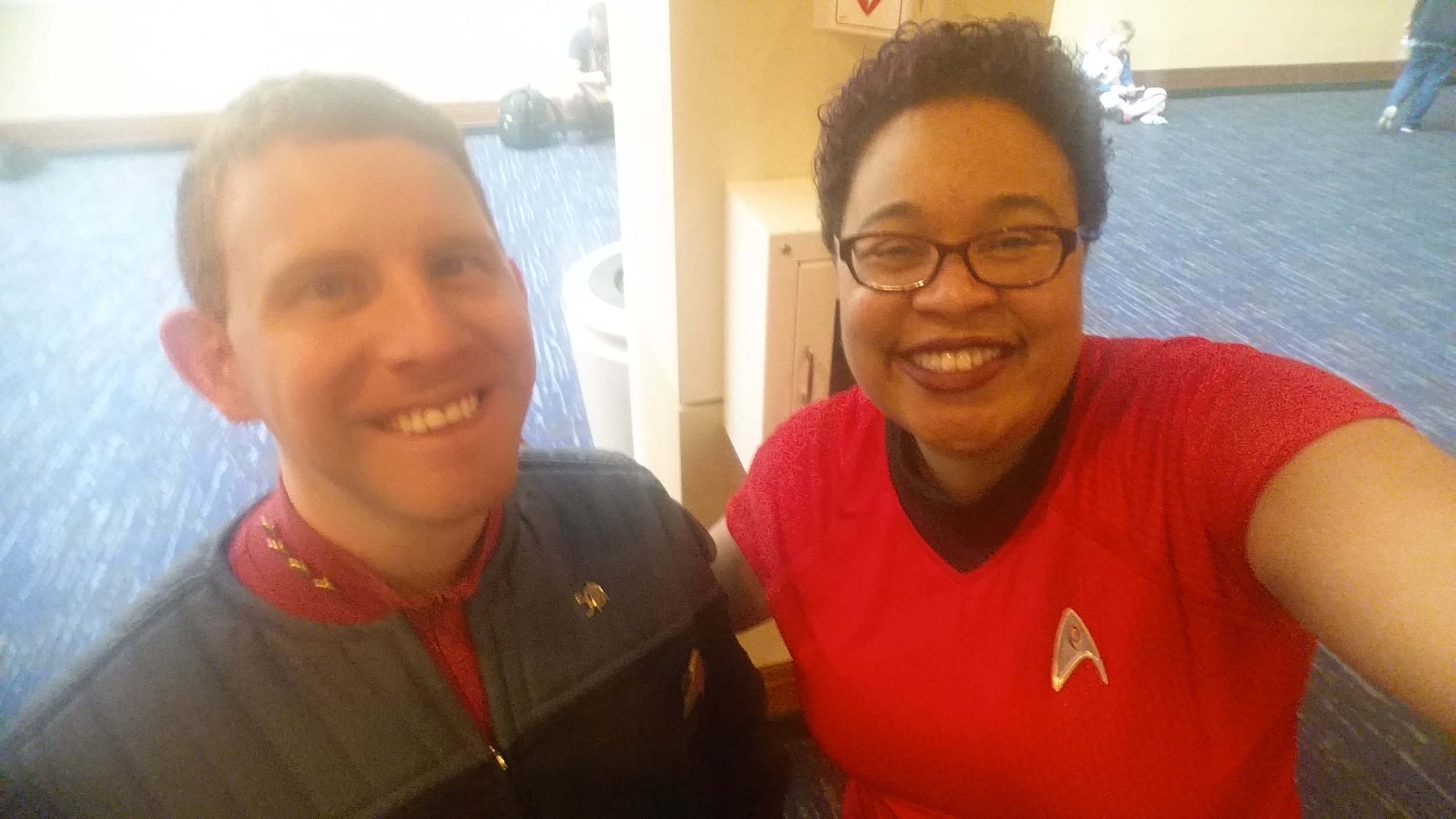 This fellow Star Trek fan and I were so excited to see each other that we decided to commemorate the occasion with a selfie!