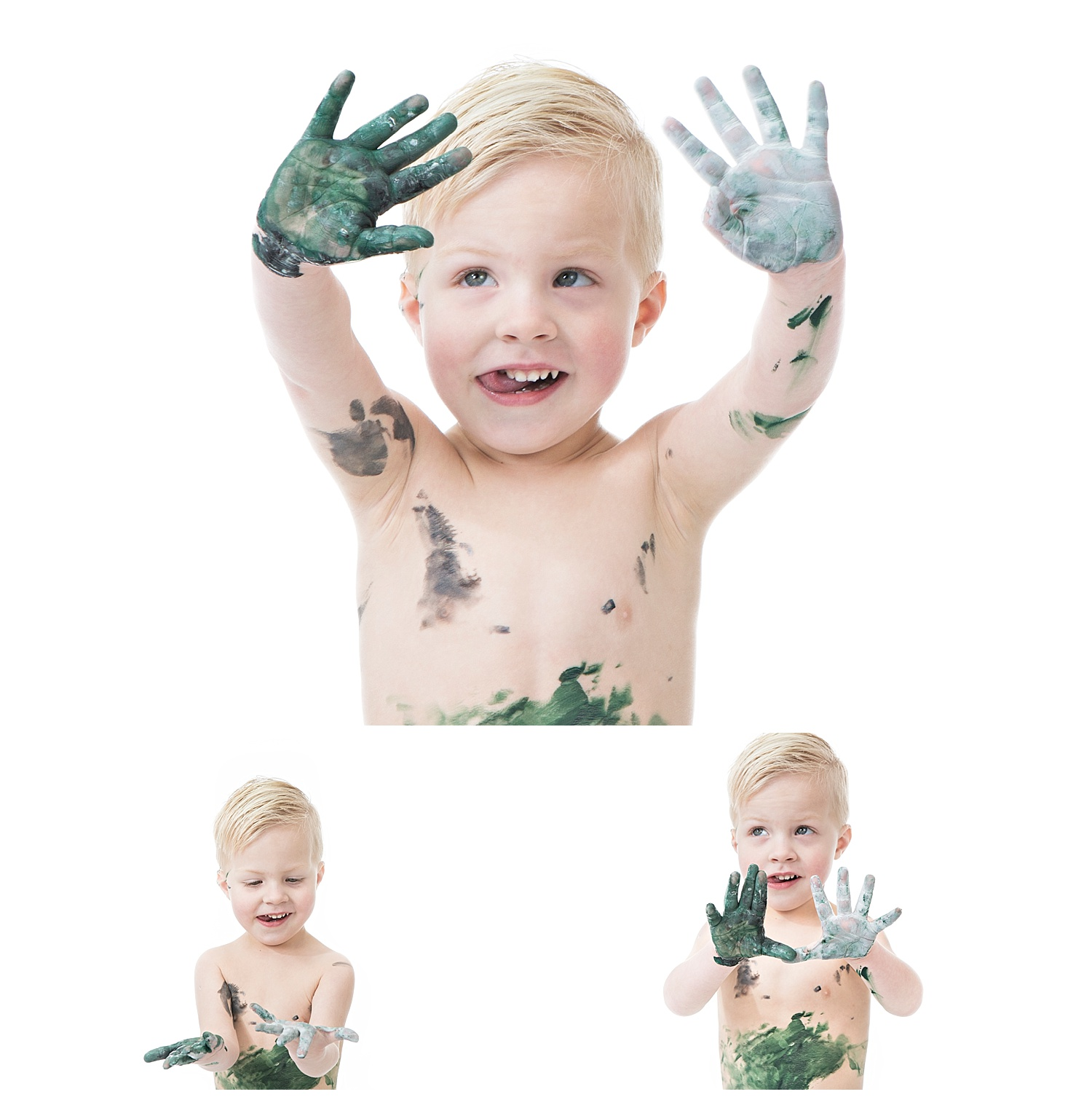 Andrea-Burolla-Photography-Denver-Childrens-photographer-kids-paint-session-little-boy-happy-hands-handprints-paint-green-grey