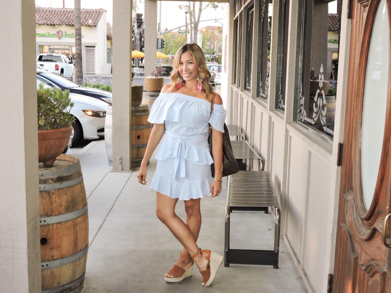 Bardot Ruffle Stripe Dress
