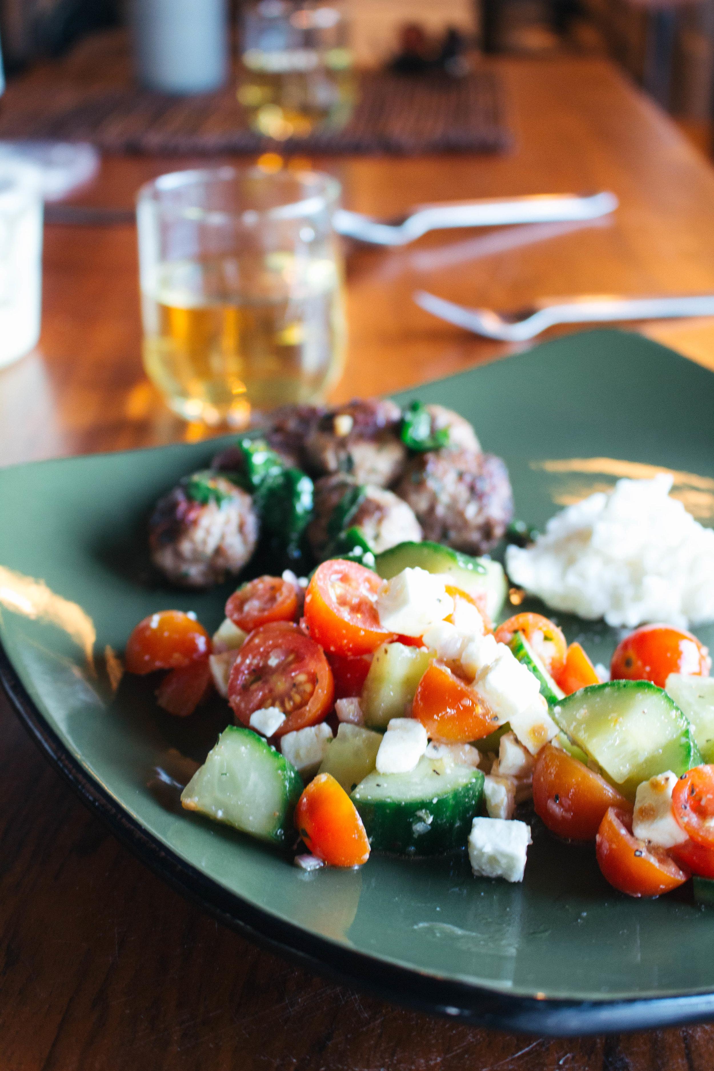 Cucumber-Tomato Salad with Feta via Worthy Pause