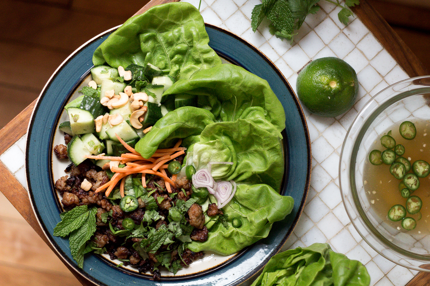 Paleo Thai Lettuce Wraps with Larb by Worthy Pause