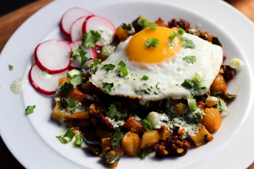 Poblano-Chorizo Breakfast Hash via Worthy Pause