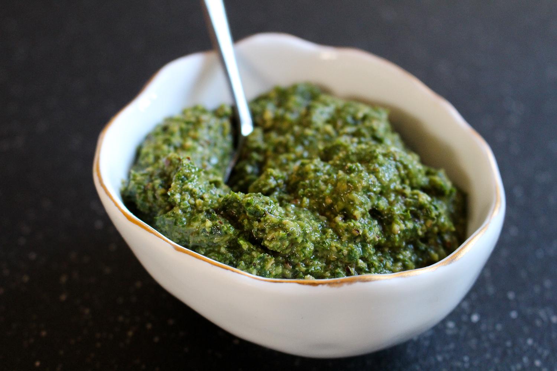 Mint-Basil-Pecan Pesto Recipe by Worthy Pause